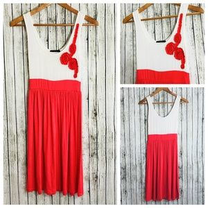 Soprano Coral & White Flower Empire Summer Dress